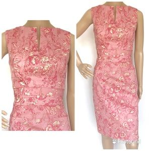 Kay Unger Toile Pink and Cream Sleeveless Sz 6